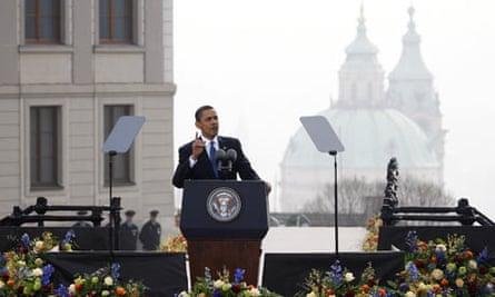 Barack Obama speaks during a public address in Prague