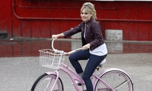 Duffy, out and about on a bike in Los Angeles
