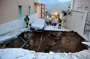 Earthquake in Italy: A damaged street following the earthquake