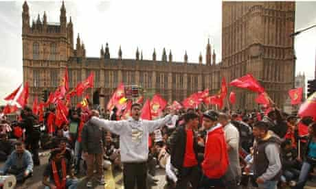 Tamil protesters outside parliament