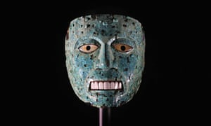 A rare turquoise mosaic mask, one of the artefacts from Aztec exhibition at the British museum