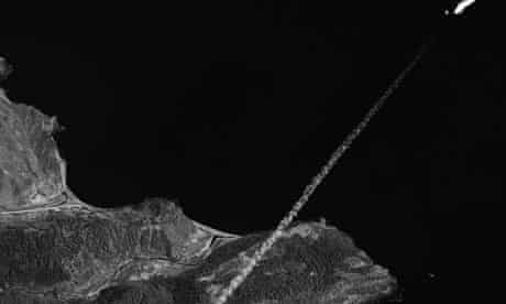An exhaust trail follows the rocket launched from Musudan-ni, North Korea, despite US censure