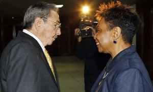 Raúl Castro meets Democratic US Congresswoman Barbara Lee