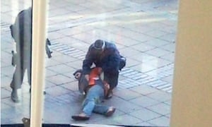 An alleged terror suspect is tackled by police