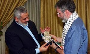 Ismail Haniyeh meeting Gerry Adams in the Gaza Strip on 8 April 2009.