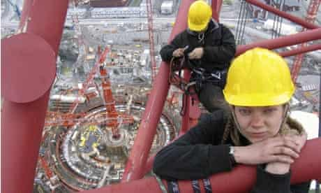 Greenpeace activists at Nuclear construction site for Olkiluoto 3 reactor, Finland