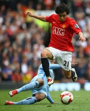 Man Utd v Man City: Robinho and Rafael
