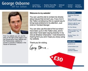 Tory allowances : George Osborne attempted to claim £30 for his personal website
