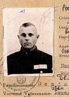 Passport photo of John Demjanjuk, who is accused of being a Nazi concentration camp guard.