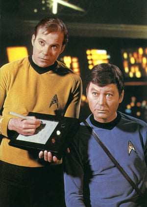 Star Trek technology: Captain Kirk (William Shatner), signs a notepad in Star Trek