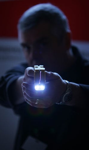 Star Trek technology: A representative from Taser International fires the company's X26 stun gun