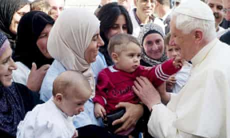 Pope Benedict meeting Palestinians at maternity hospital in Bethlehem