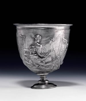 ancient erotica: The Roman silver cup the Warren Cup which depicts homo-erotic scenes