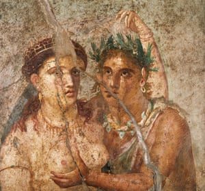 ancient erotica: Woman and a Satyr, a Roman erotic fresco from Pompeii