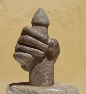 ancient erotica: sixth century Vietnamese Cham Sculpture of Hand with Phallus