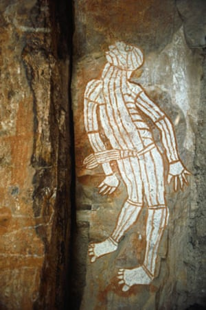 ancient erotica: australian aboriginal rock painting of a man with a prominent phallus