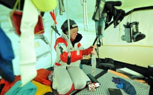 Catlin Arctic Survey: Ann Daniels in the tent sortint out equipment