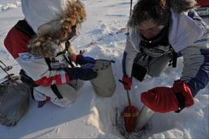 Catlin Arctic Survey: taking sample of ice sheet