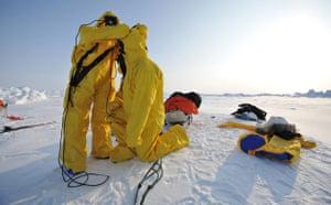 Catlin Arctic Survey: getting ready to cross defrozen lead