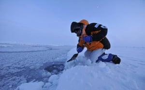 Catlin Arctic Survey: testing ice sheet before crossing