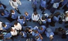 Overhead view of pupils in the playground at Capital City Academy school, Willesden