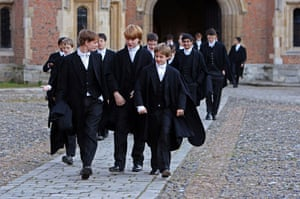 School uniforms: Boys make their way to classes across the school yard of Eton College