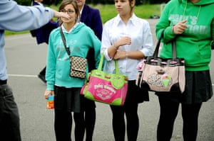 School uniforms: Pupils with their accessories at Bexley Business Academy, London