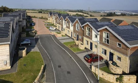 Rooftops with solar tiles in a street in Rotherham, south Yorkshire