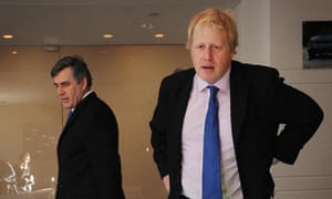 Gordon Brown and Boris Johnson at the launch of Crossrail in London on 15 May 2009.