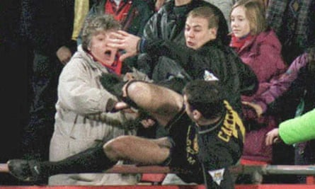 Eric Cantona's infamous kung-fu kick on a Crystal Palace fan