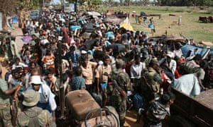 A Sri Lankan army photograph showing ethnic Tamil civilians on the run from the fighting