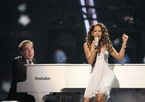 Eurovision final : Jade Ewen and Andrew Lloyd Webber in Eurovision Song Contest - Moscow 2009