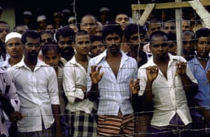 Tamil Tigers surrender: Tamil prisoners at a sri lankan government detention camp in 1986