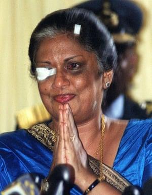 Tamil Tigers surrender: Sri Lankan President Chandrika Kumaratunga  in 1999