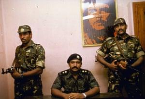 Tamil Tigers surrender: Tamil Tigers leader Velupillai Prabhakaran in 1987