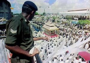 Tamil Tigers surrender: funeral ofSri Lankan President Ranasinghe Premadasa 1993