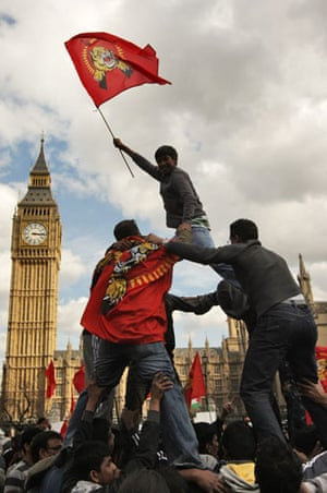 Tamil Tigers surrender: Tamil protesters demonstrate outside the Houses of Parliament