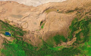 Minqin China: Satellite view of Yellow river's middle basi