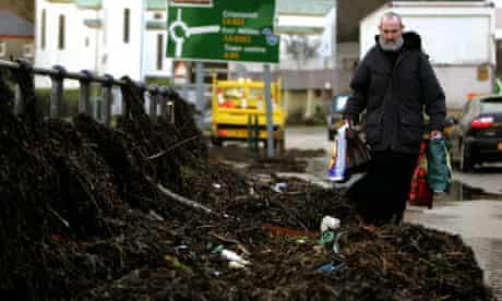 Seaweed washed ashore after storms in Oban