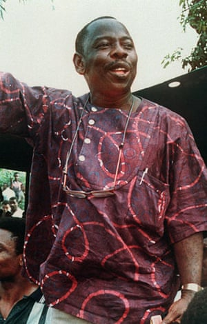 Shell in the Niger Delta: Ken Saro Wiwa at the Ogani Day demonstration in Nigeria, January 1993