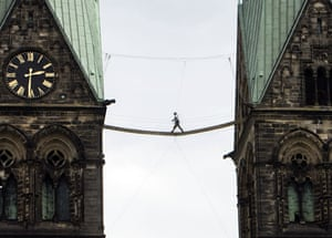 20 May 2009: Bremen: A man walks over a bridge between the towers of the cathedral