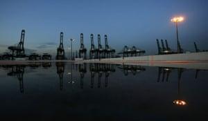 20 May 2009: Cranes at the Port of Singapore Authority's Pasir Panjang terminal