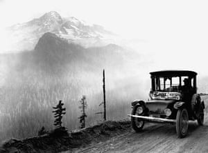 Green technologies: Electric Car Driving to Mount Rainier
