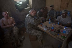 Sean Smith in Afghanistan: American Army troops from Apache Company rest at FOB Tarwah.
