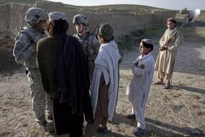 Sean Smith in Afghanistan: Soldiers on foot patrol in Chenargay village, south east Afghanistan