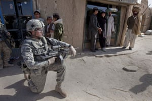 Sean Smith in Afghanistan: An American Army soldier on foot patrol in Chenargay village