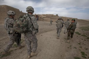 Sean Smith in Afghanistan: American and Afghan soldiers on foot patrol into Chenargay village.