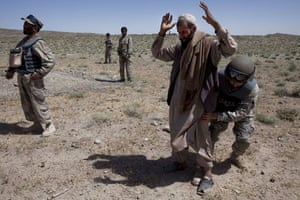 Sean Smith in Afghanistan: Afghan border police search villagers near FOB Tarwah