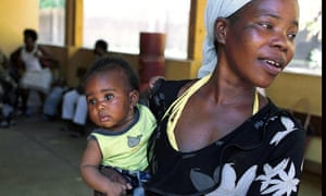 Mother at HIV clinic in Mozambique, Africa