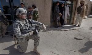 American soldiers on patrol in Afghanistan